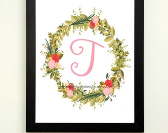 Letter T Printable, 8x10 Instant Download, Baby Girl Nursery Art, Nursery Wall Decor, Floral Monogram, Baby Girl Gift, Baby Shower Gift