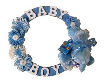 Baby Shower Wreath- Blue and White Baby Boy, Yarn Wreath with Hippo Toy, Boy shower gift, shower decoration