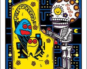 Pac Muerto Arcade Archival Art Print 5 x 7 or 8 x 10