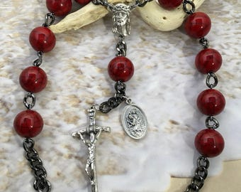 Auto rosary, red marbled rosary, red car rosary, mini rosary, mens rosary, catholic rosary gift, durable rosary, fathers day catholic gift