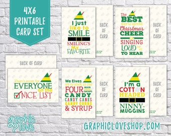 Digital Elf Movie Quotes Christmas Cards, Set of 5 designs - Folded & Postcard Included   Digital PDF File, Instant Download, Ready to Print