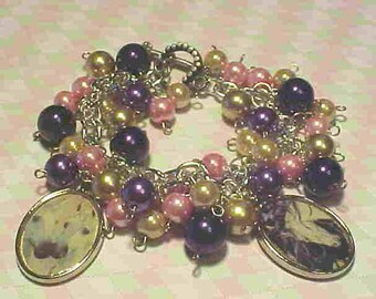 Unicorn BEADED CHARM Bracelet--''Magical Unicorns''--GLASS Pearls-Photo Charms-Altered Art-Ooak~Lovely Pink & Purple Glass Pearls