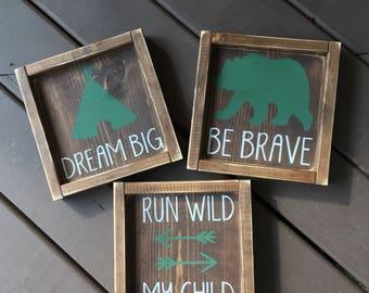 Nursery Woodland Set, Woodland Decor, Nursery Decor, Nursery Wall Decor, Rustic Nursery Decor, Framed Signs, Wood Signs, Framed Wood Signs