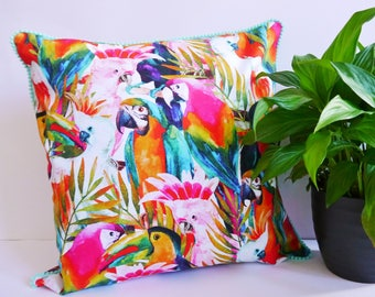 Tropical Bird Print Cushion Cover with Aqua Pom Pom Trim
