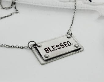 Blessed necklace, Personalized pewter necklace, stamped phand casted pewter jewelry, pewter necklace