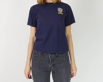 SALE 50% Vtg NYPD navy blue embroidered t-shirt / size women XS-S