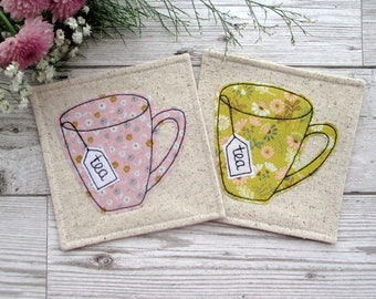 Tea Coasters, Fabric Coasters, Applique Coasters, Housewarming Gift, Table Decor, Mug Mats, Gift For Her, Hostess Gift, Office Decor