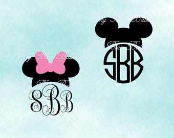 Disney ears SVG, Mickey SVG File, Mickey Mouse Monogram, Minnie Monogram Svg, Mouse Svg, Vinyl Cutting File, Minnie DXF, Cricut, Disney Dxf