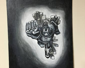 iron man acrylic painting on canvas board