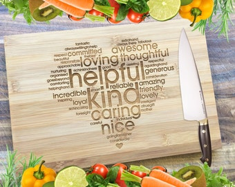 The LOVE Heart - Personalised Engraved Bamboo Chopping Board