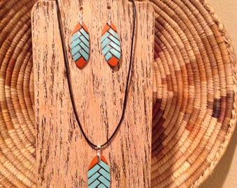 Native American Turquoise and Coral herringbone pyrography gourd necklace set