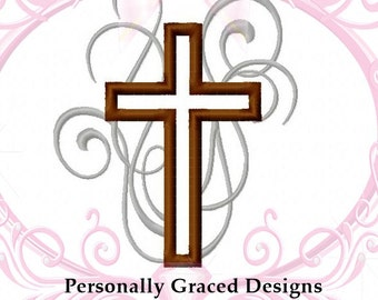 Instant Download Flourish Cross Christian Religious Applique Machine Embroidery Design, 4 Sizes, 4x4, 5x7, Cross Embroidery, Cross Applique