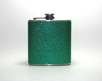 Emerald Green Sparkly Glitter 6 oz Size Stainless Steel Liquor Hip Flask Flasks Weddings Bridesmaids