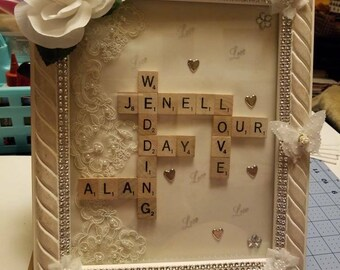 Wedding, anniversary scrabble frames. Also have done some family frames. All are made to order.