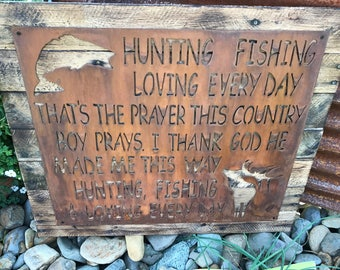 Hunting and Fishing Sign, Hunting Decor, Fishing Decor, Woodland Decor, Cabin Sign, Elk, Bass, Buck, Hunting Sign, Fishing Sign, Boy Nursery