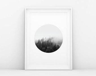 Misty Forest Trees Print - Foggy Landscape - Circle - Landscape Print - Landscape Wall Art - Printable Art -  Scandinavian and Nordic Print
