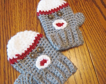 Sock Monkey inspired Adult Mittens