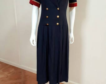 Vintage 1980s does 1920s Lanz Navy Red Sailor Drop Waist Dress