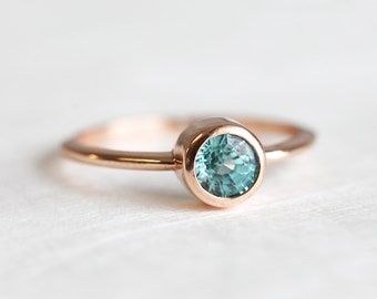 Zircon Ring, Blue Zircon Ring, Rose Gold Ring, Solitaire Ring, Simple Solitaire ring, Paraiba Color gemstone, Simple Gemstone Ring