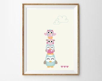Cute Owl Totem Pole Print for a Baby Girl's Nursery - Instant Download Wall Art - Print at Home