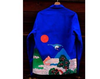 JOY Creation - hand painted blue work jacket japanese landscape - Joyfripe Paris