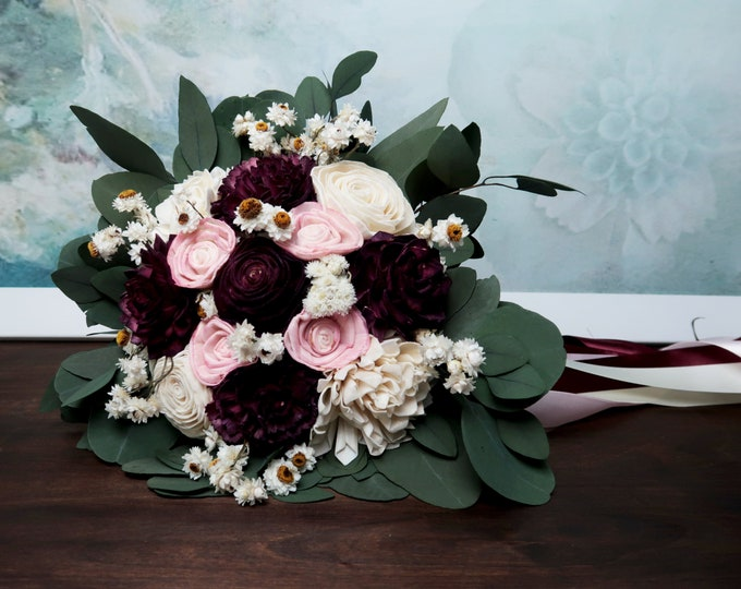 Medium boho wedding bouquet preserved eucalyptus dark Burgundy wine blush pink white ivory dried flowers sola vintage style long ribbons