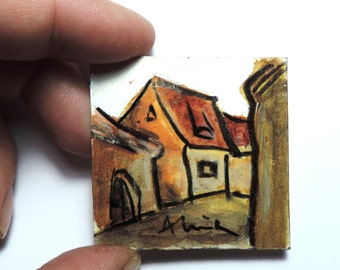 Tiny acrylic painting, The Guild House in Brasov, Transylvania, miniature art, love to travel, small contemporary painting, original Romania
