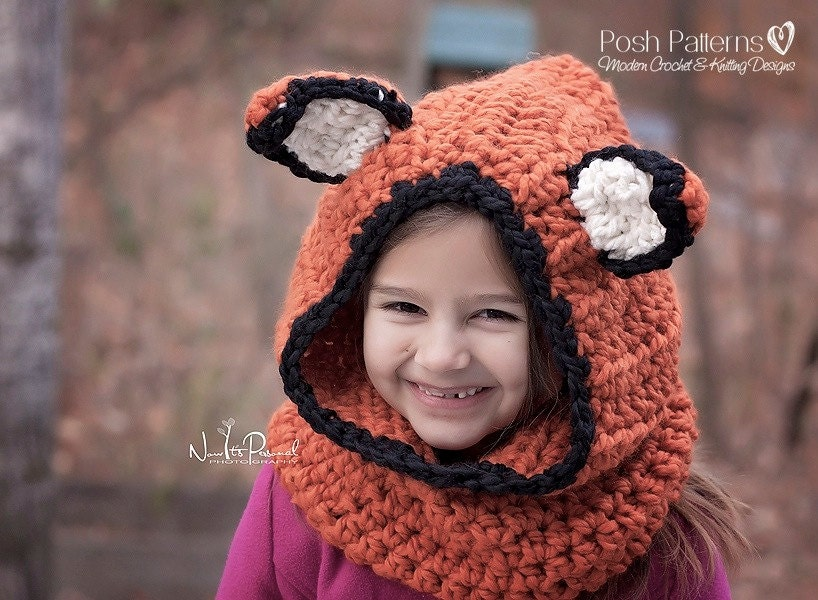 Crochet Pattern Fox Hooded Cowl Pattern Hooded Scarf Crochet