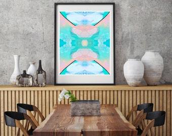 Fluid art print, abstract geometric print, aqua wall art, modern home decor, abstract wall print, boho art print, pastel art print blue pink