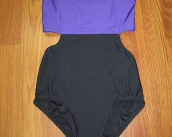 Ready to ship black and ultraviolet leotard with elastic grid back, adult small