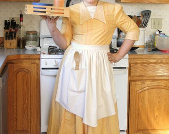 Everyday Princess Tiana Yellow Waitress Costume, Made to Order, Upcycled Materials WILL VARY