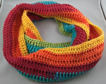 Rainbow Striped Infinity Scarf Handmade Crocheted, Warm Winter Scarf, Ladies Fashion Scarf