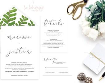 Printable Wedding Invitation Suite / Calligraphy / Wedding Invite Set - Minimal Marissa Suite