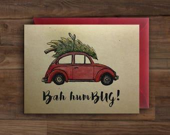 Bah Hum BUG // Christmas Red VW Bug + Christmas Tree Card // Volkswagon