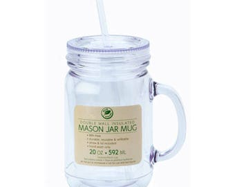 20 oz Clear Double Wall Plastic Mason Jar with Handle with Lid and Straw, New, BPA Free, DIY Vinyl