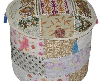 "18"" Floral Embroidered Vintage Patchwork Ottoman Pouf Cover Throw Home Decor Floor Foot Stool"