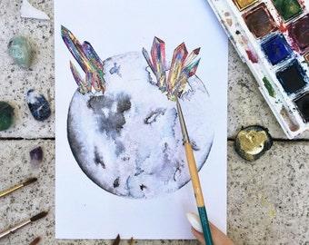 "Watercolor ""Healing Us Through the Moon"""