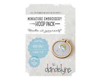"55mm miniature embroidery hoop frame DIY kit - 2.2"" hoop frame set ONLY - unique Dandelyne miniature hoop"