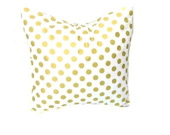 Gold Pillow Cover, Metallic Gold Pillow Covers, White Gold Dot Pillow, Throw Pillow Cushion Cover-Square-Lumbar Pillow-Rectangle BEST SELLER