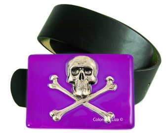 Skull and Crossbonse Belt Buckle Inlaid in Ultra Violet Opaque Hand Painted Enamel for Snap Belts  with Custom Colors Available