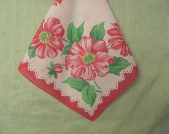Pink and burgundy floral handkerchief / hankie