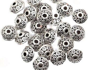 50 Rondelle Antique Metal Alloy Bicone Spacer Beads 6mm  DIY Crafts Jewelry Making