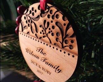 Personalized Christmas Ornaments Handmade - Ivy Family Christmas Gift - Wood Christmas Ornament - Custom Text - SKU#16B