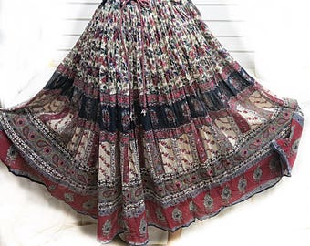 Vintage 1970 Indian cotton gauze Hippie skirt #453
