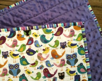 READY to SHIP! Modern WholeCloth Baby Quilt/Throw. Toddler Quilt. Crib Quilt. Cute Owls and Birds w/ Purple Minky. Handmade Throw. Blanket.