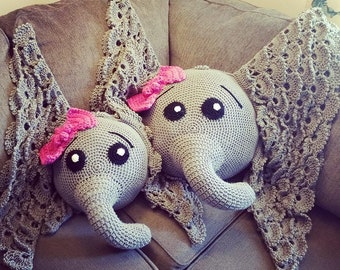Crochet Baby Elephant Pillow with Bow