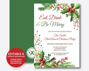 Instant Download, Editable Eat Drink And Be Merry Invitation, Christmas Party Invitation, Christmas Invitation, Holiday Invitation (SHI.03)