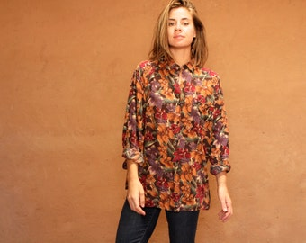 90s TWIN PEAKS sheer floral red & black slouchy oversize shirt blouse