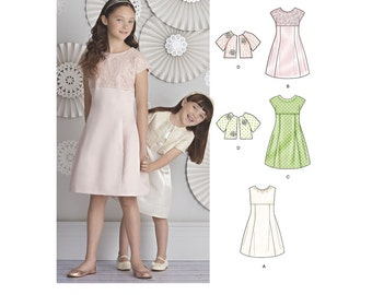 PARTY DRESS PATTERN / Girls Fancy Dress and Jacket - Special Occasion / Size 3 to 6 Or 7 to 14