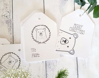 Hipster Bear Merry Christmas Gift Tags | Woodland Christmas | Monochrome Christmas Tags | Beary Merry Christmas Tags | Hipster Bear Tags